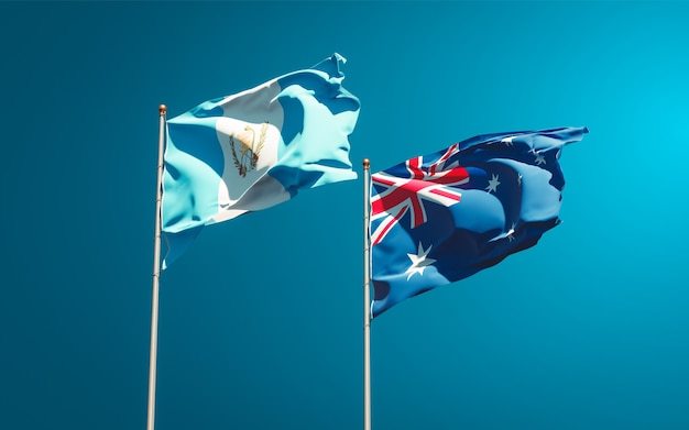Beautiful national state flags of guatemala and australia together