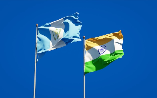 Beautiful national state flags of guatemala and india together