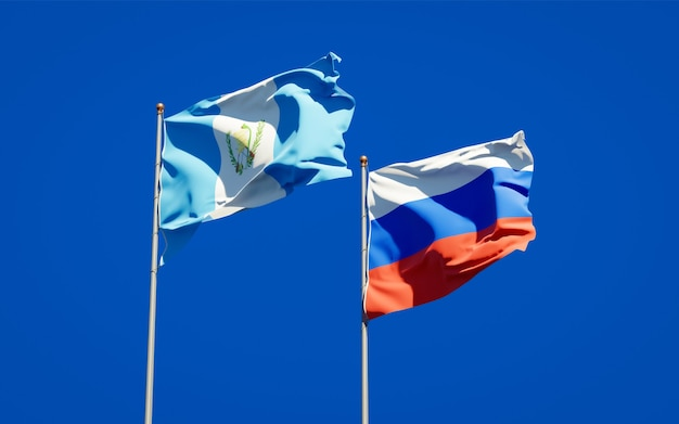 Beautiful national state flags of guatemala and russia together on blue sky. 3d artwork