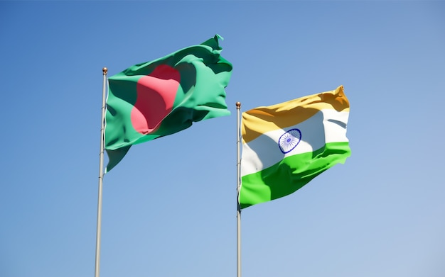 Beautiful national state flags of india and bangladesh together
