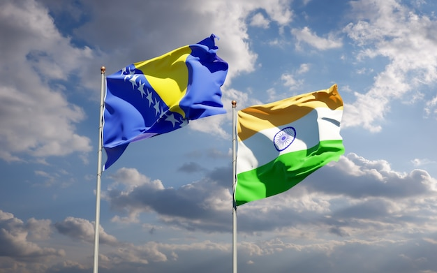 Beautiful national state flags of india and bosnia and herzegovina together
