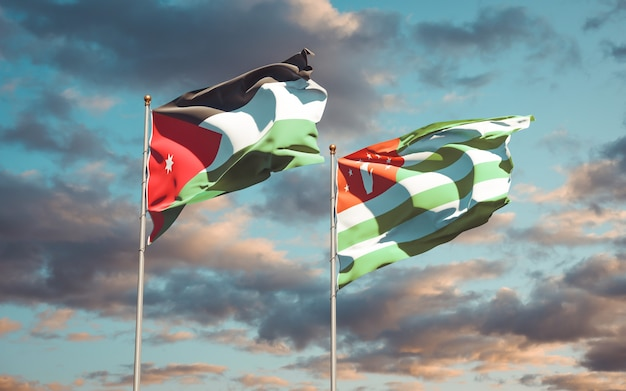 Beautiful national state flags of jordan and abkhazia together