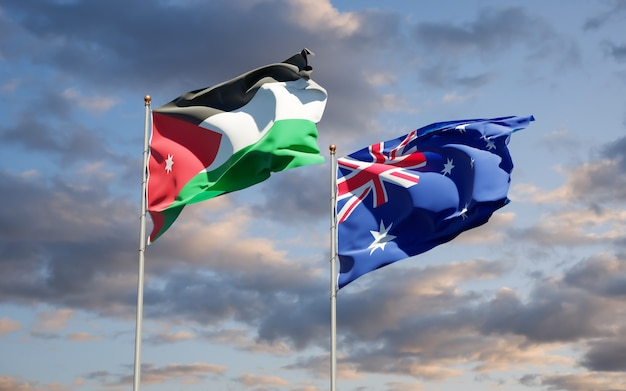 Beautiful national state flags of jordan and australia together