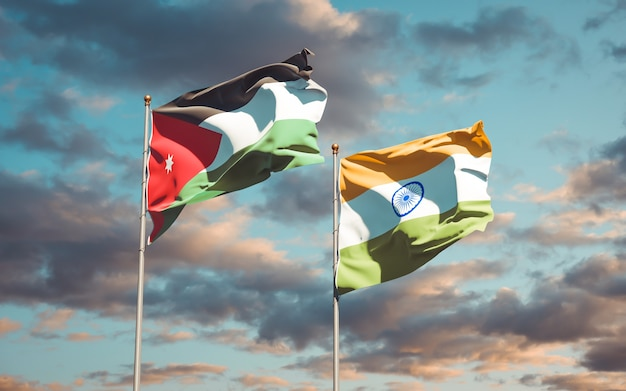 Beautiful national state flags of jordan and india together