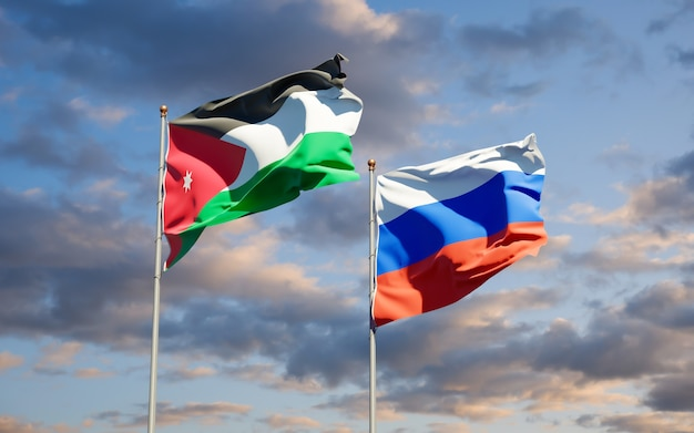 Beautiful national state flags of jordan and russia together on blue sky. 3d artwork