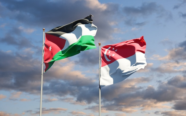 Beautiful national state flags of jordan and singapore together