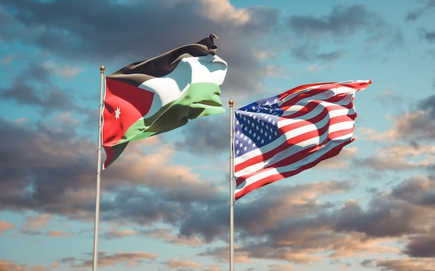 Beautiful national state flags of jordan and usa together