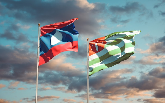 Beautiful national state flags of laos and abkhazia together