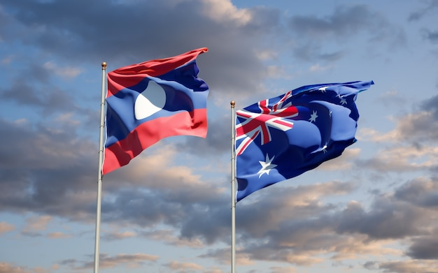 Beautiful national state flags of laos and australia together