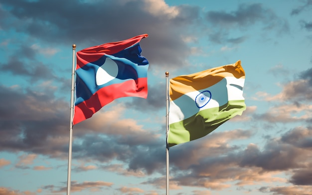 Beautiful national state flags of laos and india together