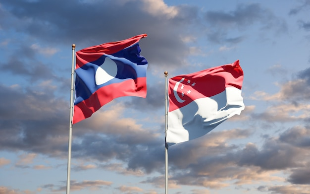 Beautiful national state flags of laos and singapore together