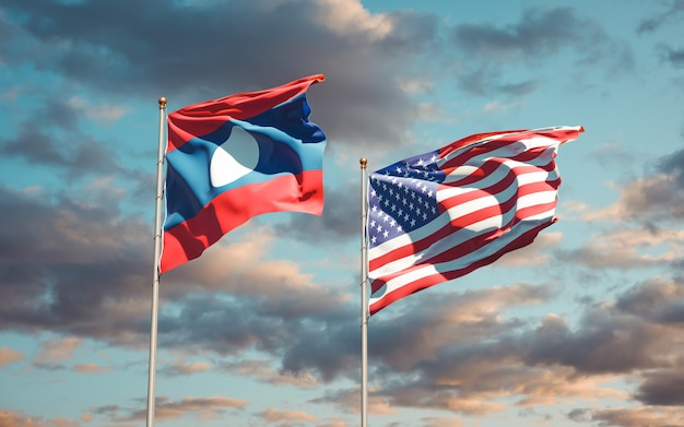 Beautiful national state flags of laos and usa together