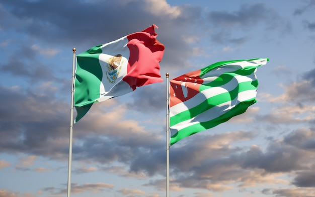 Beautiful national state flags of mexico and abkhazia together