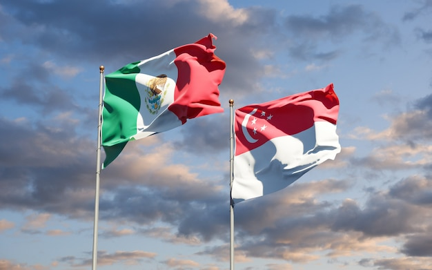 Beautiful national state flags of mexico and singapore together