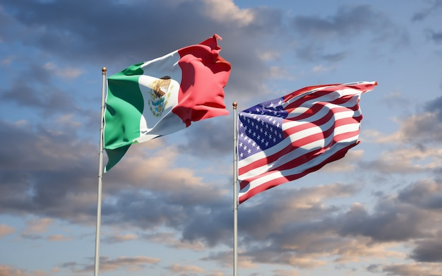 Beautiful national state flags of mexico and usa together
