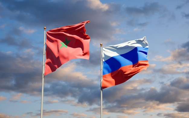 Beautiful national state flags of morocco and russia together on blue sky. 3d artwork