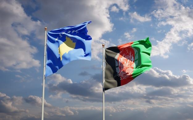 Красивые национальные государственные флаги афганистана и косово