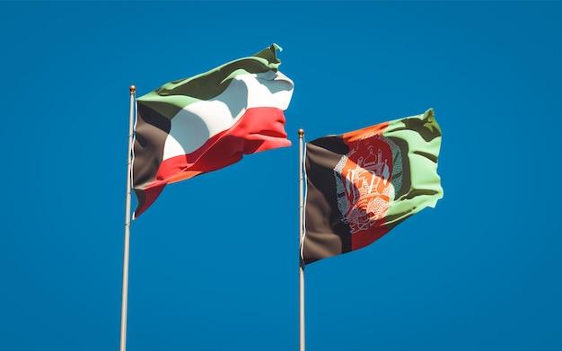 Красивые национальные государственные флаги афганистана и кувейта