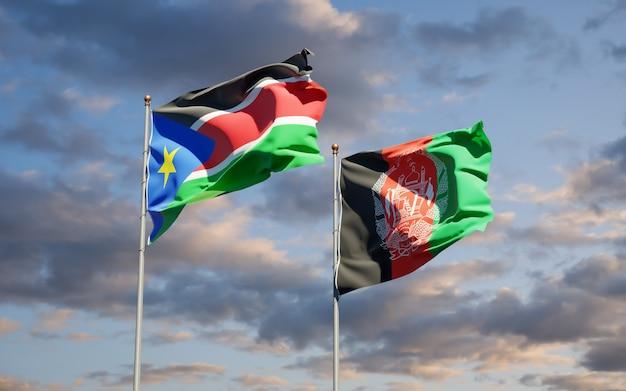 Красивые национальные государственные флаги афганистана и южного судана
