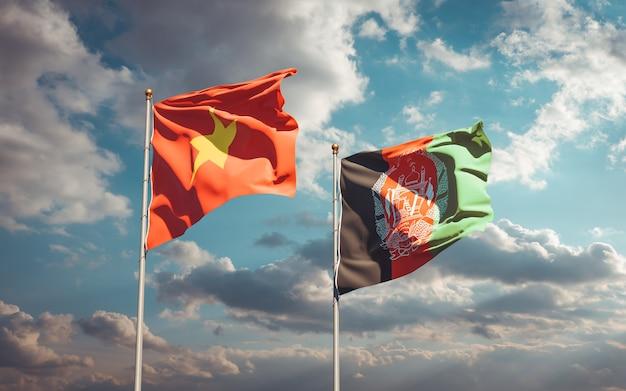 Красивые национальные государственные флаги афганистана и вьетнама