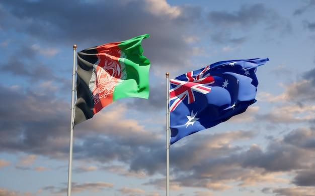 一緒にオーストラリアとアフガニスタンの美しい国の旗