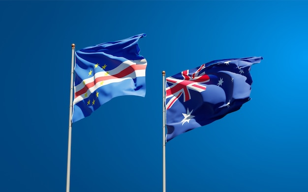 Красивые национальные государственные флаги австралии и кабо-верде вместе