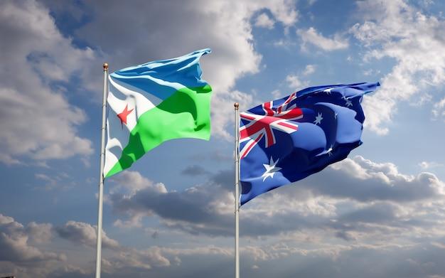一緒にジブチとオーストラリアの美しい国の旗