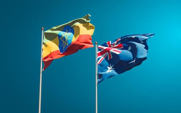 一緒にエチオピアとオーストラリアの美しい国の旗