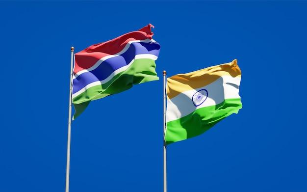 감비아와 인도의 아름다운 국기를 함께