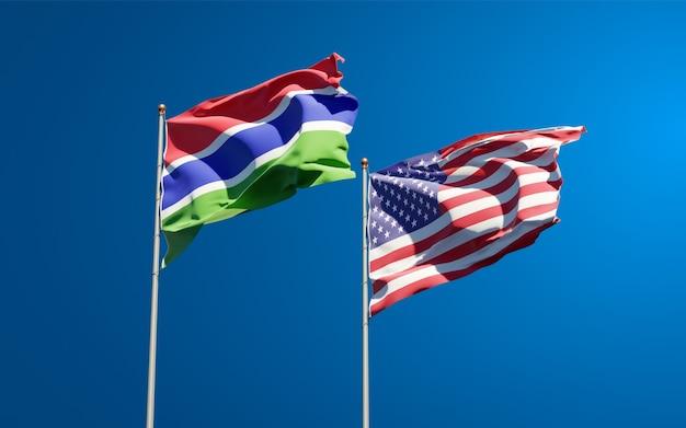 함께 감비아와 미국의 아름다운 국기