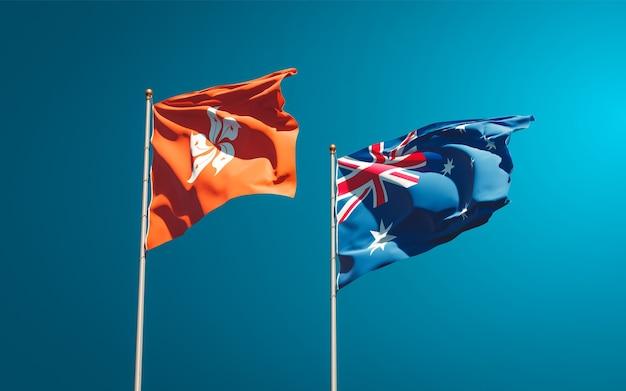 Красивые национальные государственные флаги гонконга, гонконга и австралии вместе