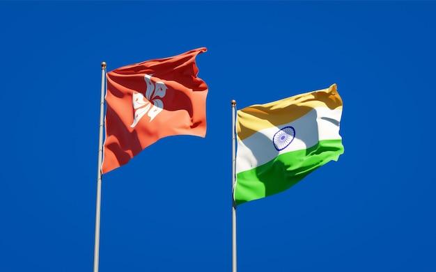 Красивые национальные государственные флаги гонконга, гонконга и индии вместе