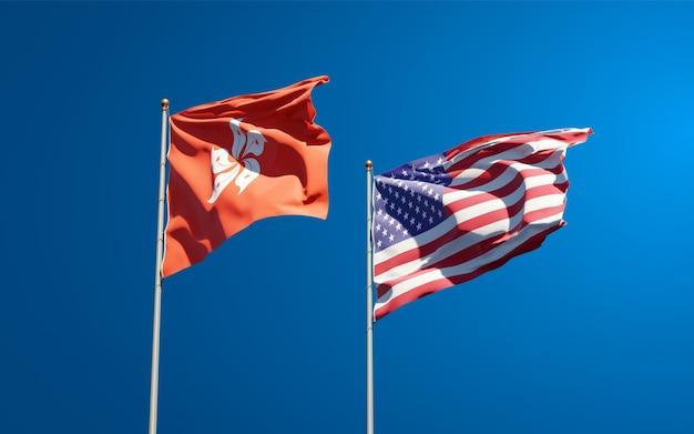 Красивые национальные государственные флаги гонконга, гонконга и сша вместе