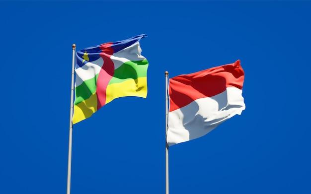 青い空に一緒にインドネシアとcar中央アフリカ共和国の美しい国の旗