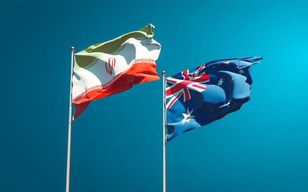 Красивые национальные государственные флаги ирана и австралии вместе
