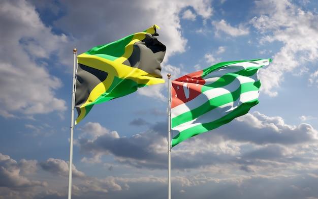 ジャマイカとアブハジアの美しい国旗を一緒に