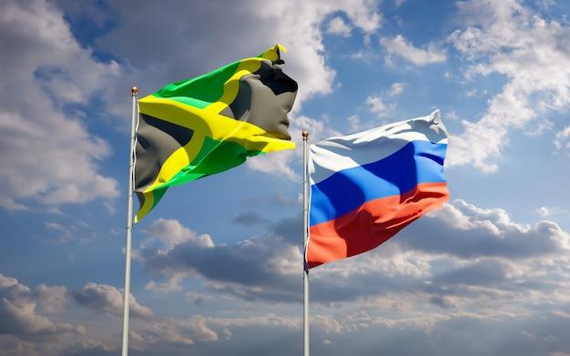 青い空に一緒にジャマイカとロシアの美しい国の旗。 3dアートワーク