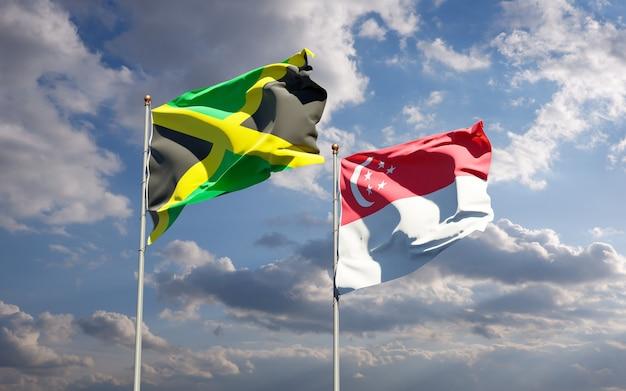 一緒にジャマイカとシンガポールの美しい国旗