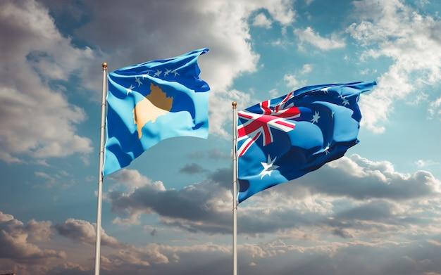 Красивые национальные государственные флаги косово и австралии вместе