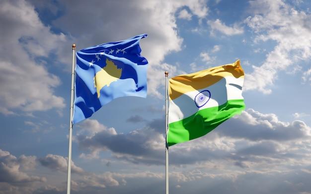 Красивые национальные государственные флаги косово и индии вместе