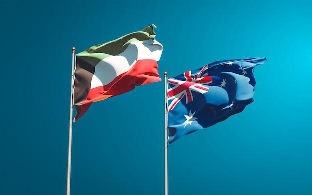 Красивые национальные государственные флаги кувейта и австралии вместе