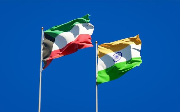 Красивые национальные государственные флаги кувейта и индии вместе