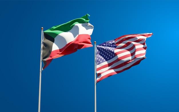 Красивые национальные государственные флаги кувейта и сша вместе