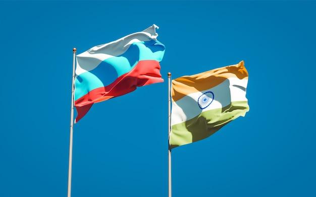 함께 새로운 러시아와 인도의 아름다운 국기