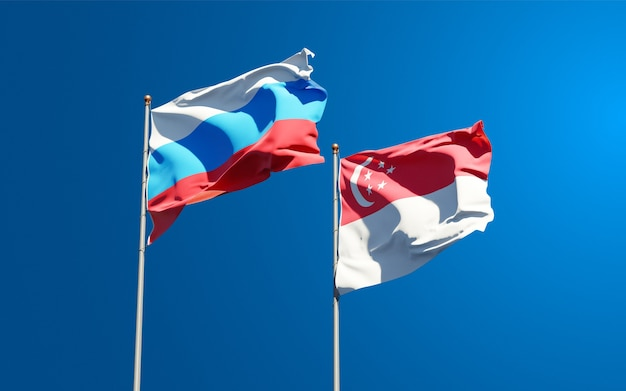 함께 새로운 러시아와 싱가포르의 아름다운 국기