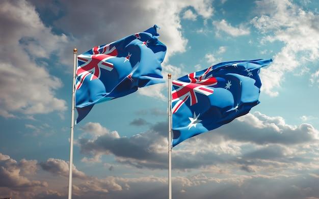 Красивые национальные государственные флаги новой зеландии и австралии вместе