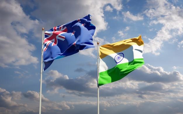Красивые национальные государственные флаги новой зеландии и индии вместе