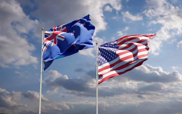 Красивые национальные государственные флаги новой зеландии и сша вместе