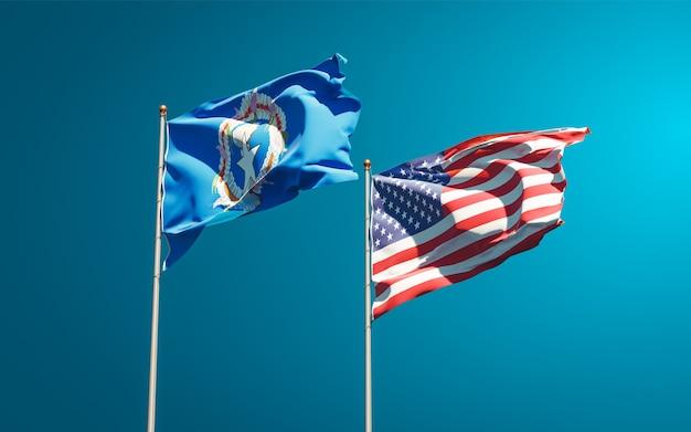 北マリアナ諸島とアメリカの美しい国の旗を一緒に