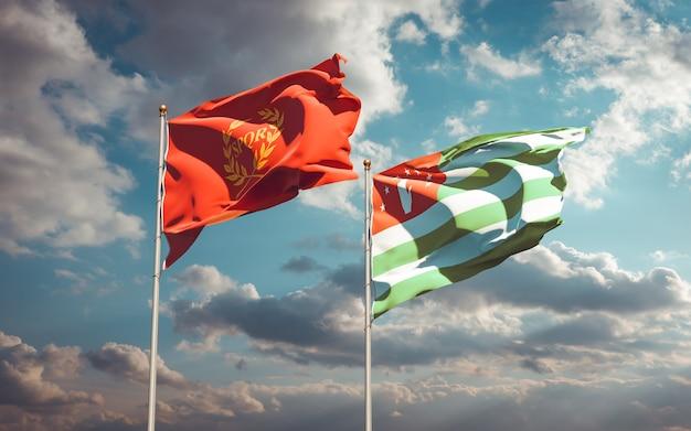 Красивые национальные государственные флаги новой ромы и абхазии вместе
